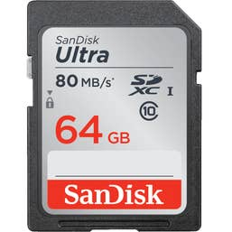 SanDisk 64GB Ultra SDXC 80MB/s Class 10 UHS-I Memory Card