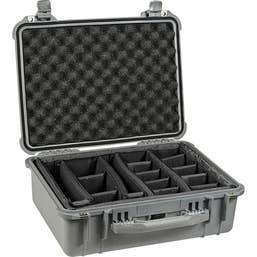 Pelican 1550 Case with Padded Dividers - Silver  (1554SD)