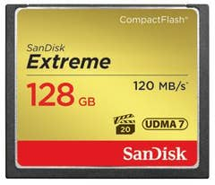 SanDisk 128GB Extreme CompactFlash 120MB/s Memory Card