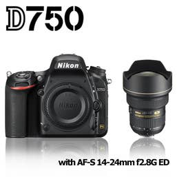 Nikon D750 Digital SLR Camera and Nikon AF-S 14-24mm f2.8G ED Lens