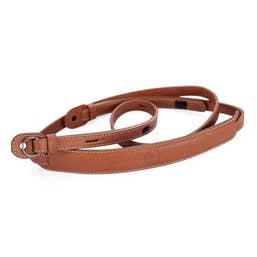 Leica Leather Neck Strap with protection flap in Cognac for Leica M Q and X series.  (18777)