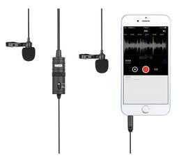 BOYA BY-M1DM Dual Mic Lavalier Microphone for Smartphones & DSLR