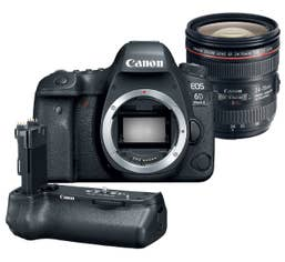 Canon EOS 6D Mark II w/ EF 24-70mm f/4L IS with Canon BGE21 Battery Grip