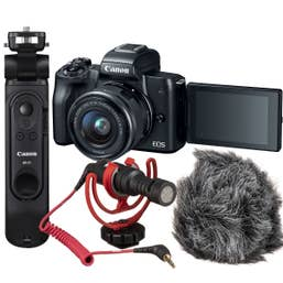 Canon EOS M50 Handheld Vlogging Kit with HG-100TBR Tripod and Rode VideoMicro