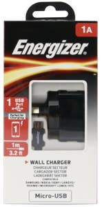 ENERGIZER WALL CHARGER 1A AU plusMicroUSB Cable Black