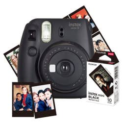 Fujifilm Instax Mini 9 Camera Black and 10pk of Mini Film (Black Frame)