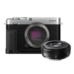Fujifilm X-E4 Black with XF 27mm Lens plus Metal Hand Grip & Thumb Rest Kit