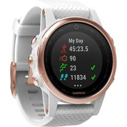 Garmin Fenix 5S Sports Watch with White Band (Sapphire Rose Gold)