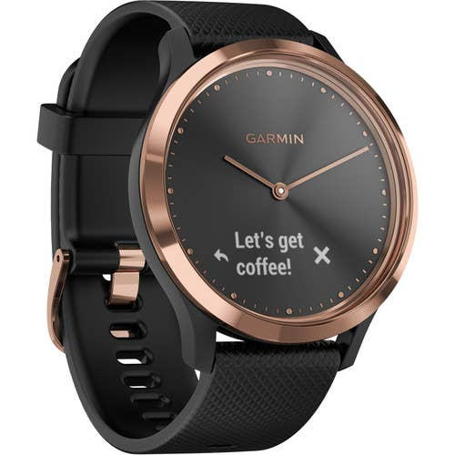 Garmin Vivomove HR Hybrid Watch with Black Band (Rose Gold Sport) (Medium)