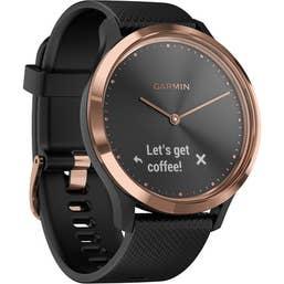 Garmin Vivomove HR Hybrid Watch with Black Band (Rose Gold Sport) (Medium)