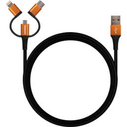 Hahnel 3-in-1 Tough Lightning Cable for USB-C & Micro USB 2 Metres