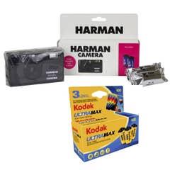 Ilford Harman Reusable 35mm Camera with Flash & 2x Pan 400 Film & 3x Kodak Gold 400 Film