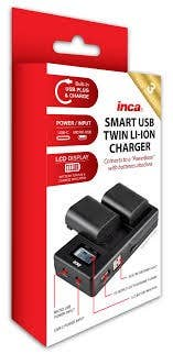 INCA Charger USB Twin CANON LP-E5 int USB cord input Micro & TypeC port LCD/Powerbank