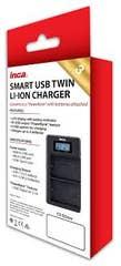 INCA Charger USB Twin NIKON EN-EL14 int USB cord input Micro & TypeC port LCD/Powerbank