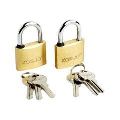 Korjo Lock Keyed 40mm - Duo Pack Brass
