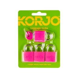 Korjo Luggage Lock Keyed 20mm - Colour (4 Pk)