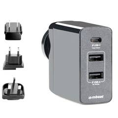 """Mbeat GorillaPower 3-Port USB-C"""" Power Delivery World Travel Charger with Plugs"""