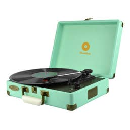 mbeat Woodstock Tiffany Blue Retro Turntable Player