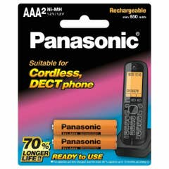 Panasonic DECT Phone Replacement Batteries, AAA 2 pk 700mAh