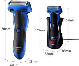 Panasonic Rechargeable Electric Cordless Wet/Dry Mens 3 Blade Shaver - Blue