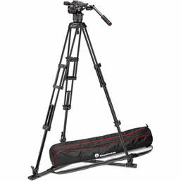 Manfrotto Nitrotech N8 Head & Carbon Fiber Twin Leg Video Tripod Kit  Ground Spreader