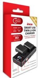 INCA Twin USB Charger for Sony NP-F970 (Micro-USB + USB-C Powerbank)