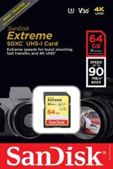 SanDisk 64GB Extreme SDXC 90MB/s UHS-I Memory Card