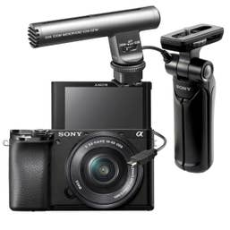 Sony A6100 Vlogging Kit with Sony GP-VPT1 Shooting Grip and ECM-GZ1M Microphone