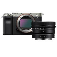 Sony A7C Body - Silver with Sony FE 24mm f/2.8 G Lens