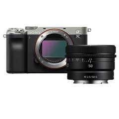 Sony A7C Body - Silver with Sony FE 50mm f/2.5 G Lens