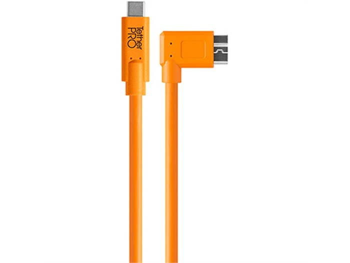 TetherPro USB-C to USB 3.0 Micro-B Right Cable - Orange