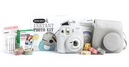Fuji Instax Mini 9 SmokeyWhite Bundle Kit Film, Pegs, Case, washi tape
