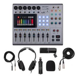 Zoom PodTrak P8 Portable Podcast Microphone Kit with ZDM-1